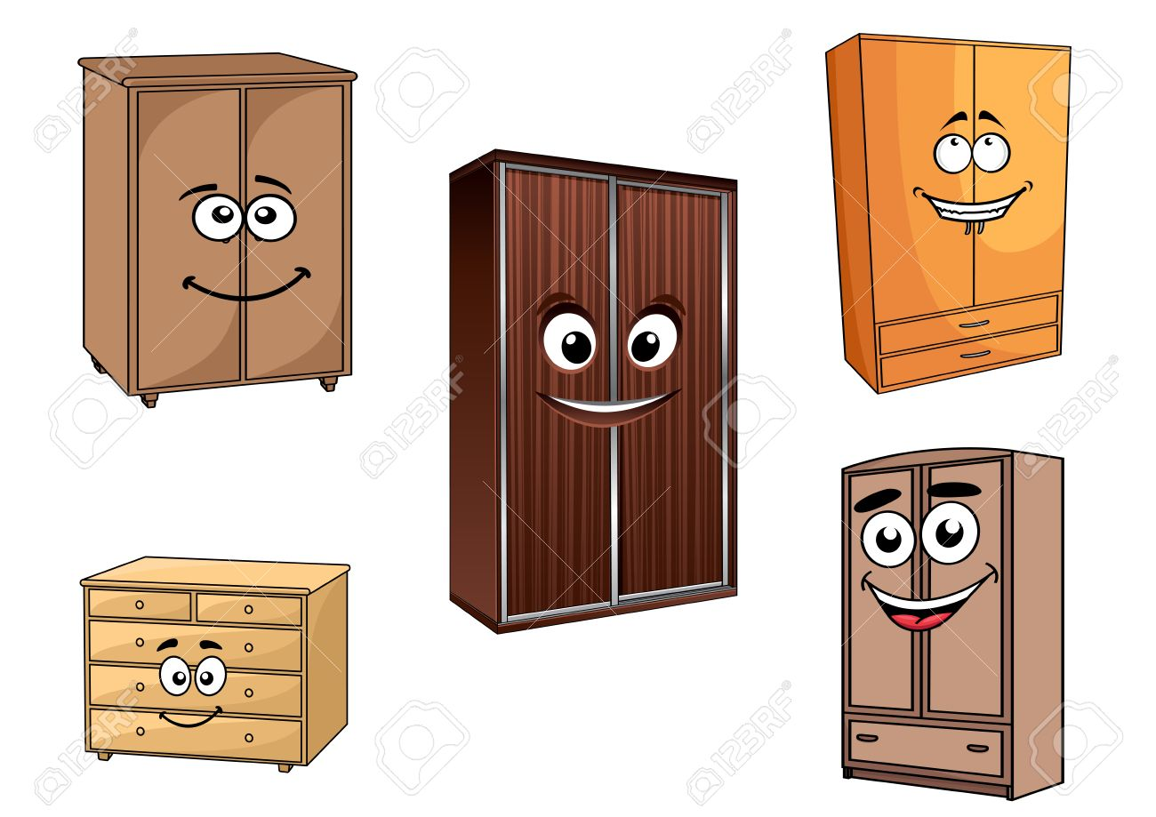 Wooden bedroom cupboards set in cartoon style with cheerful faces..