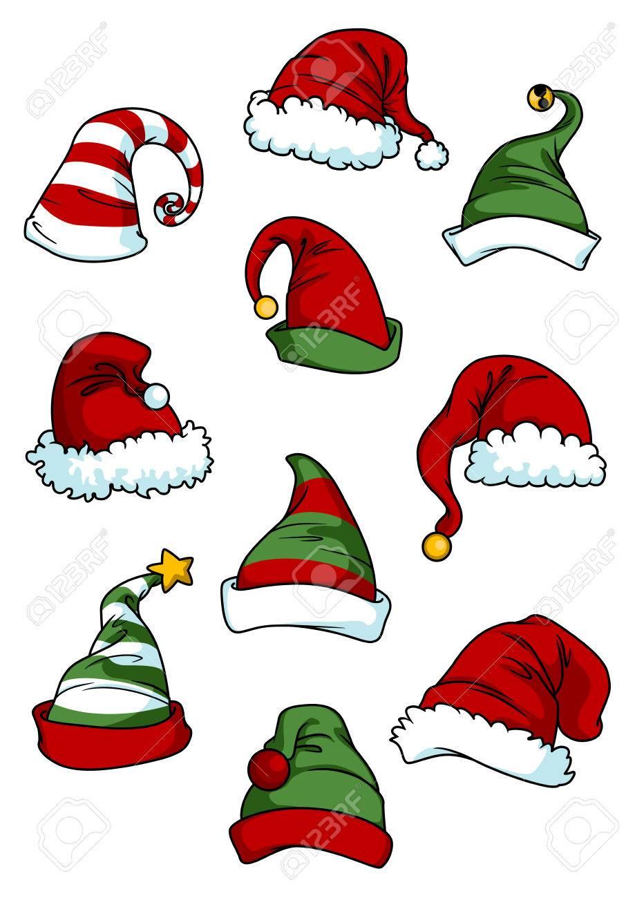Clown, joker and Santa Claus cartoon hats set isolated on white for seasonal or comics design - 34567791