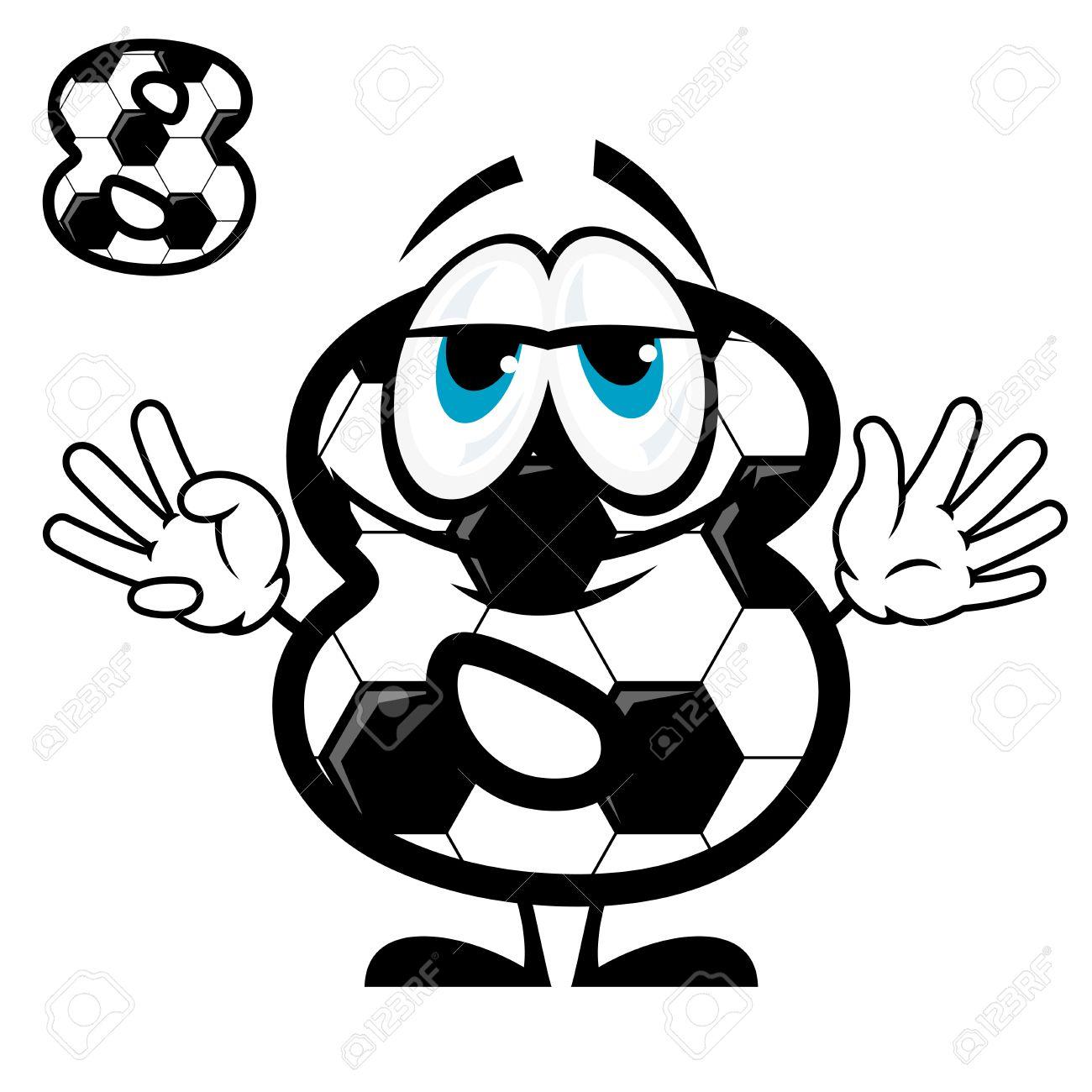 Nette Karikatur Nummer Acht Zeichen Färbung Wie Fußball Oder Fußball ...