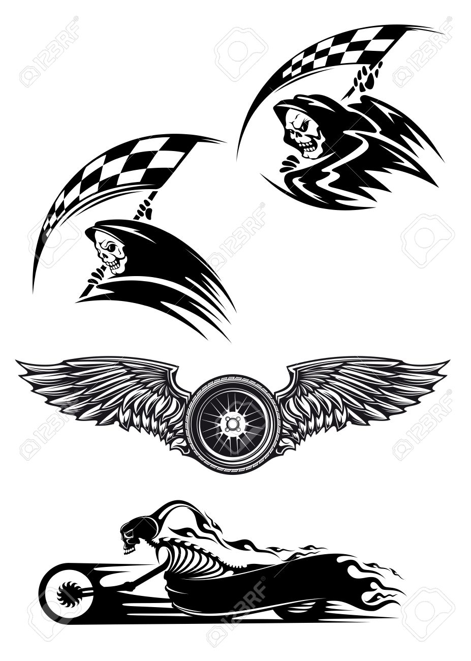 Tribal Motocross Mascot Or Tattoo Design With Skeleton On Motorcycle