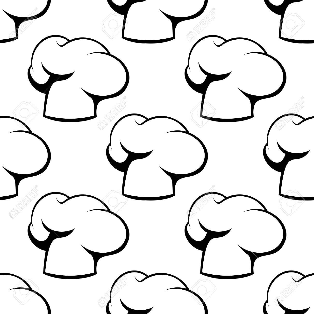 classic chef hats and toques outline seamless pattern in white