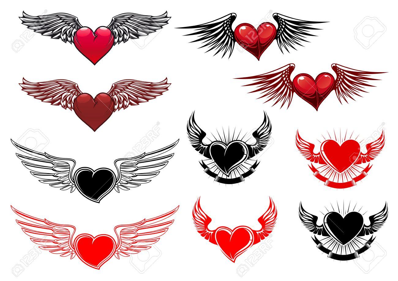Tatuajes Del Corazón Con Alas En Estilo Retro Para Heráldica O