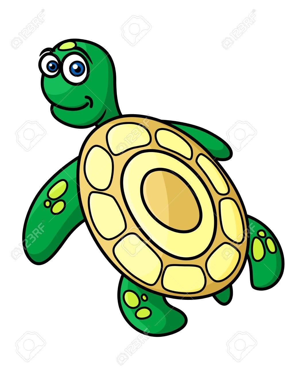 Lindo De La Tortuga De Mar Verde Con Cáscara De Color Amarillo En El ...