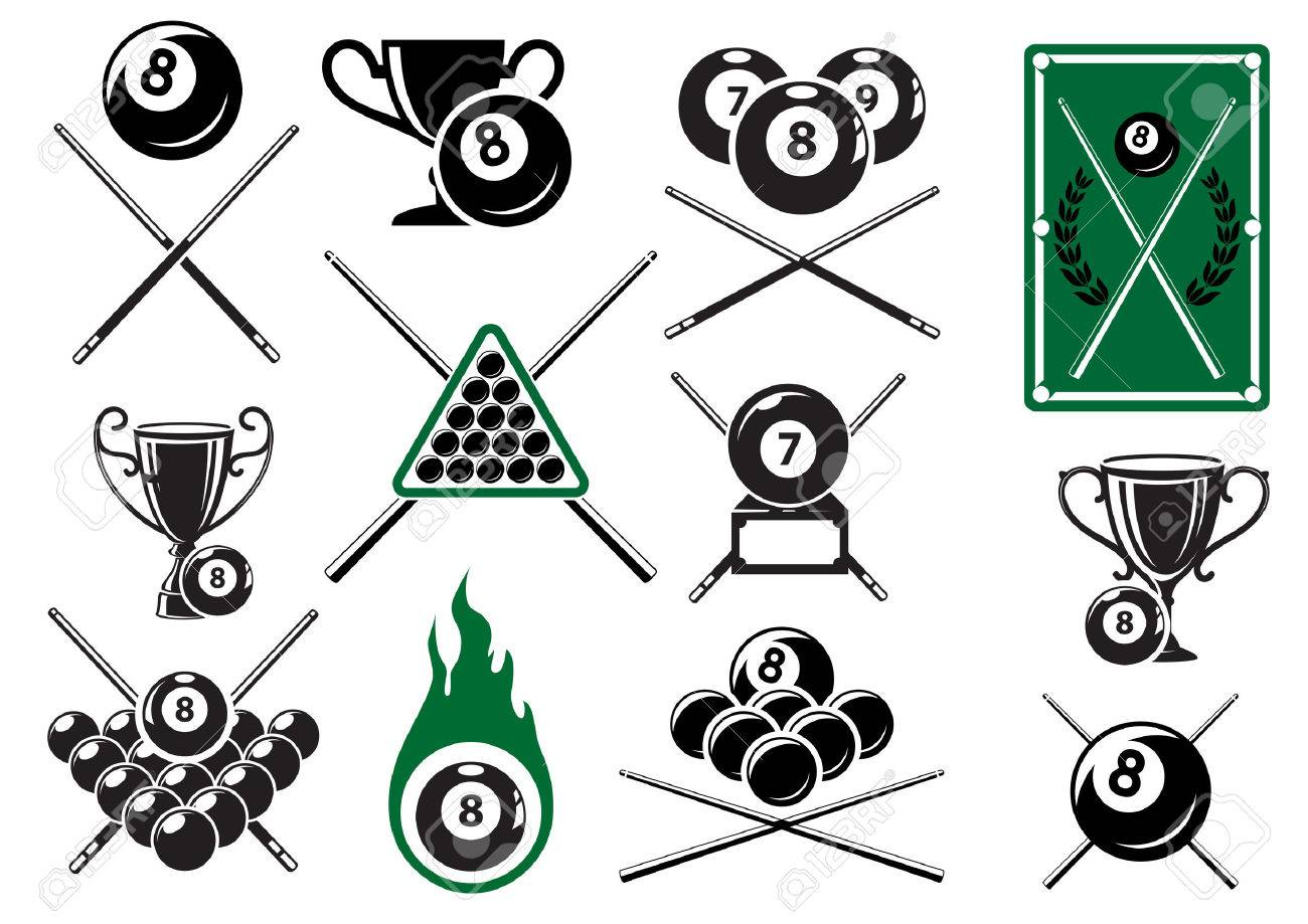 Billiard, pool and snooker sports emblems with crossed cues, billiard balls, trophy cups and table Banque d'images - 35320792