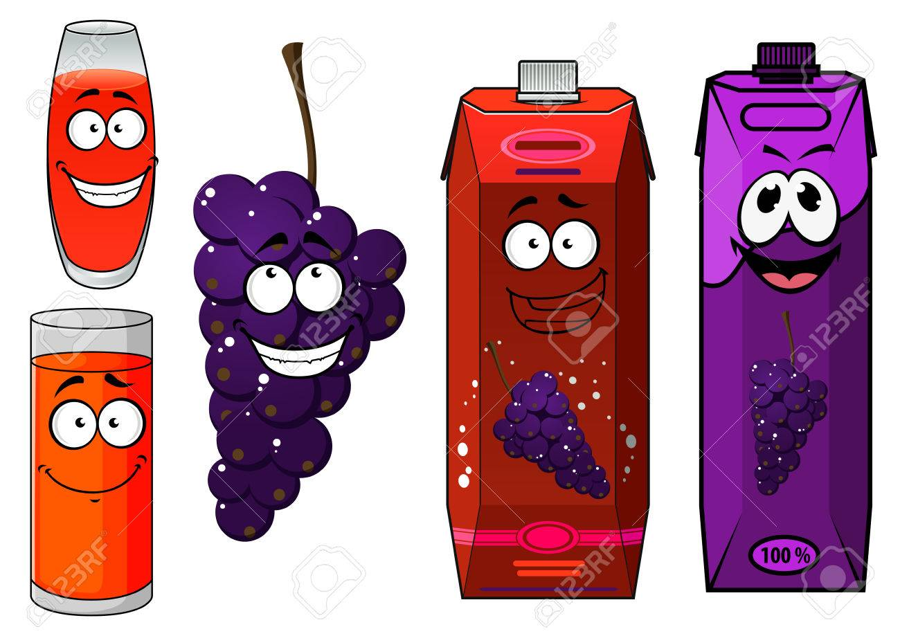 Funny cartoon grape and juice isolated on white royalty free