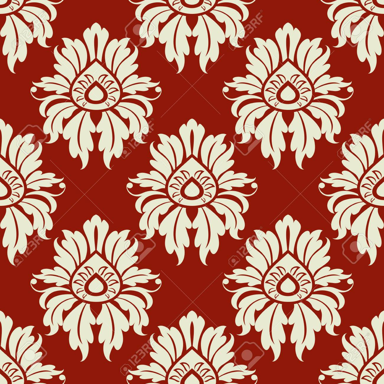 Beige Floral Seamless Pattern On Maroon Background For Wallpaper
