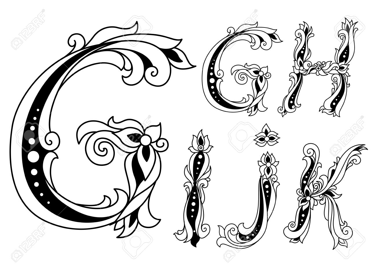 Letters G H I J And K In Retro Floral Style For Vintage