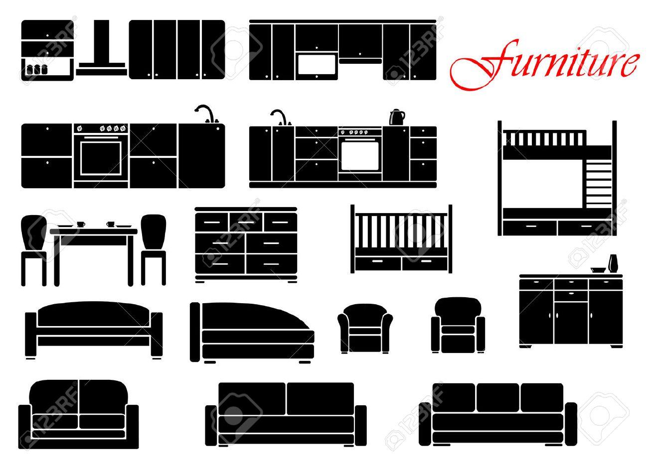 Geassorteerde silhouet meubelen met stoel, bed, tafel, keuken, een ...