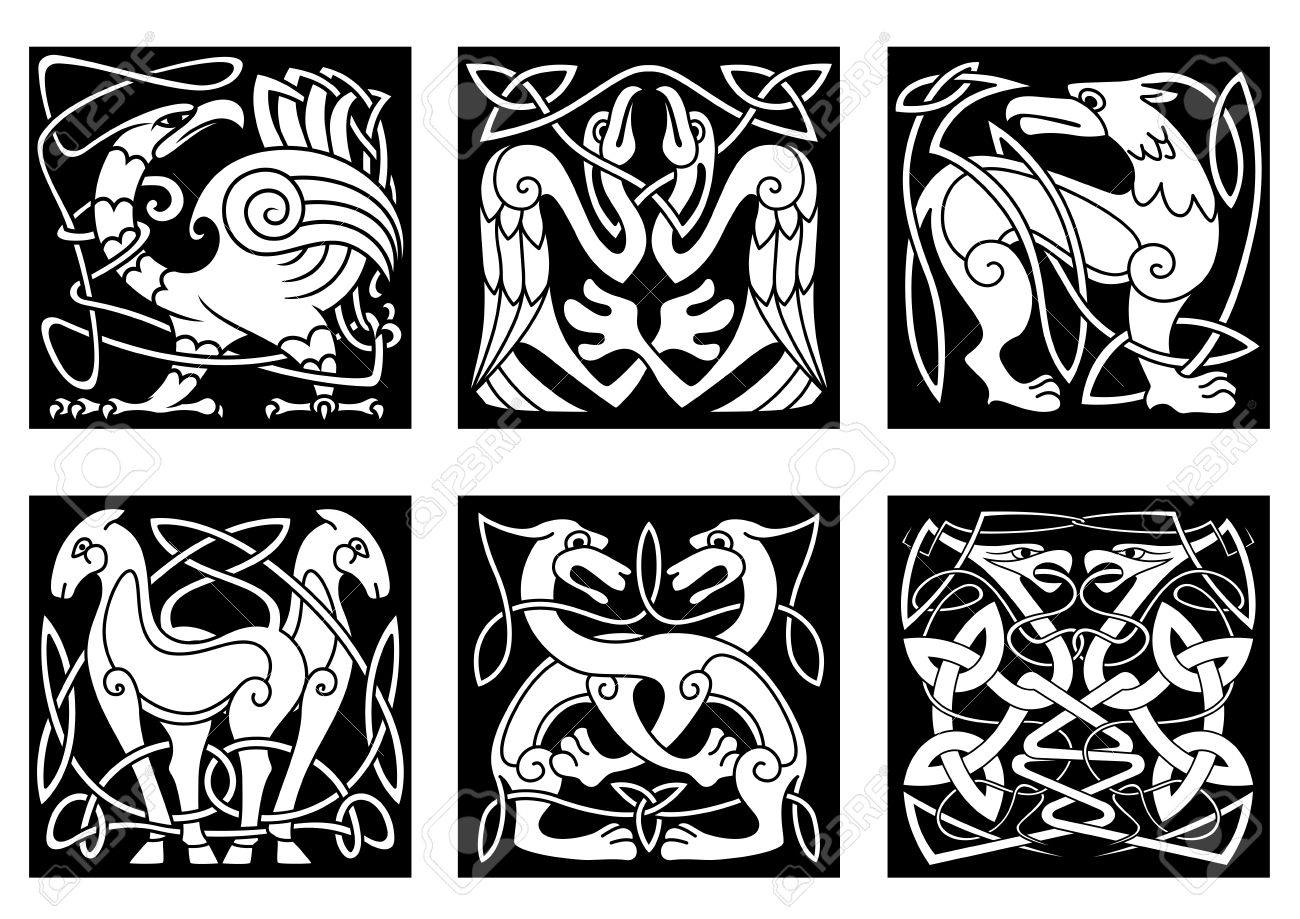 Celtic Animals And Birds With Traditional Irish Ornament On Black Background For Tattoo Or Heraldry Design
