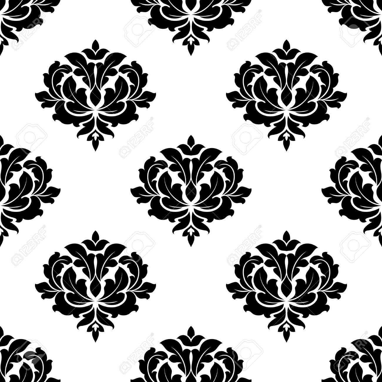 Seamless Noir Et Blanc Avec Des Fleurs De Curlicue Elegantes De