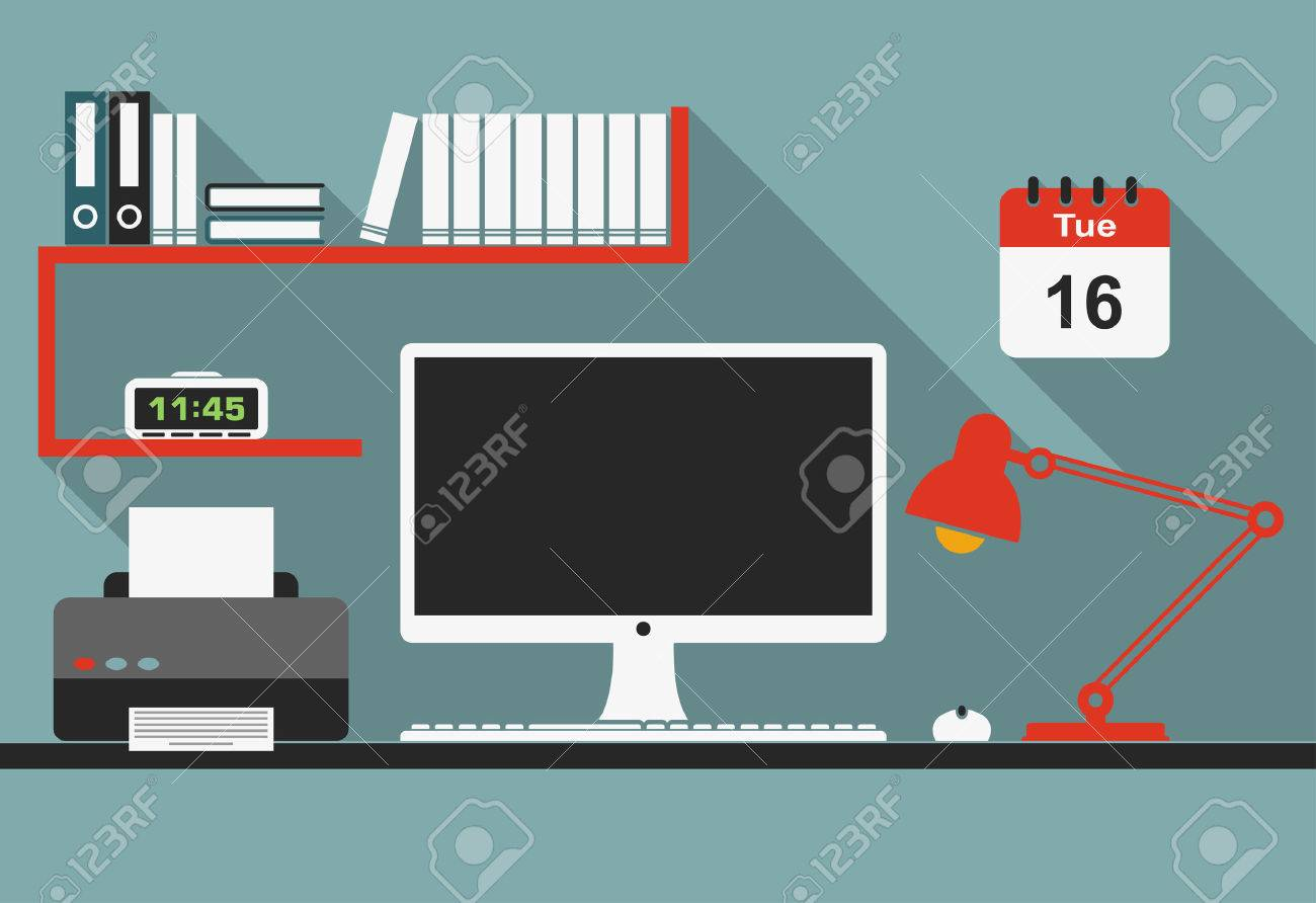 Office workplace interior with desktop computer, mouse, lamp, clock, bookshelf and printer in flat style for business concept design - 35531448