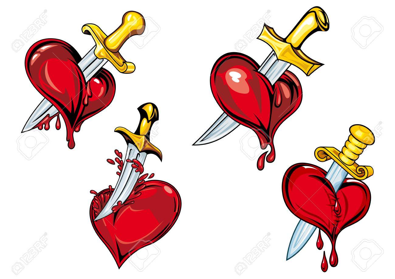 Sangrado Corazones Con Dagas En Estilo De Dibujos Animados Para