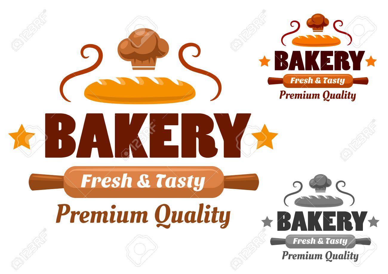 Uberlegen Bäckerei Logo Oder Emblem Mit Frischem Brot, Hölzernen Nudelholz Und  Kochmütze Dekoriert Sterne Und Locken
