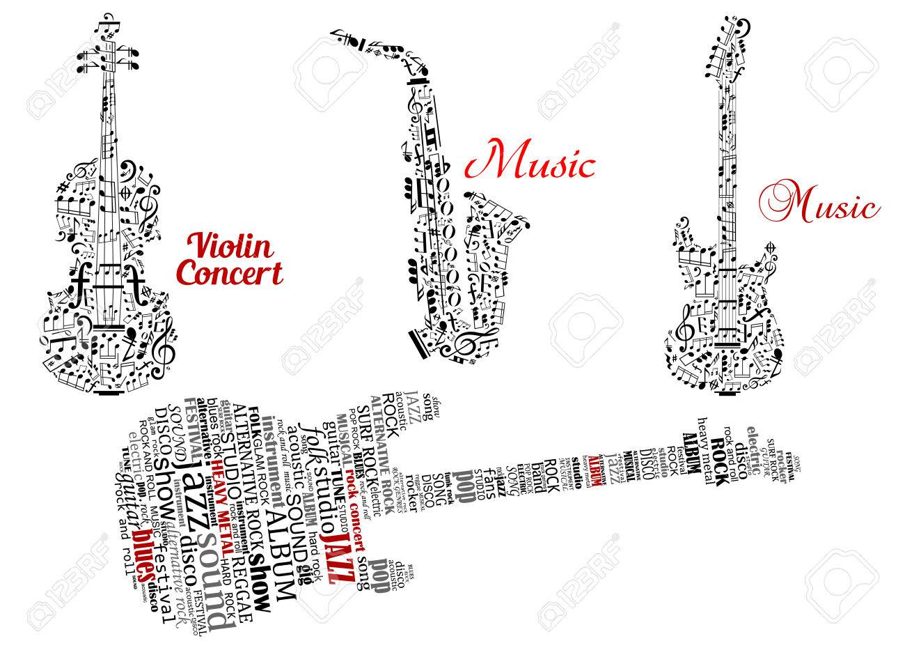 Abstract black guitar violin saxophone made from notes music abstract black guitar violin saxophone made from notes music symbols and tag clouds biocorpaavc Image collections