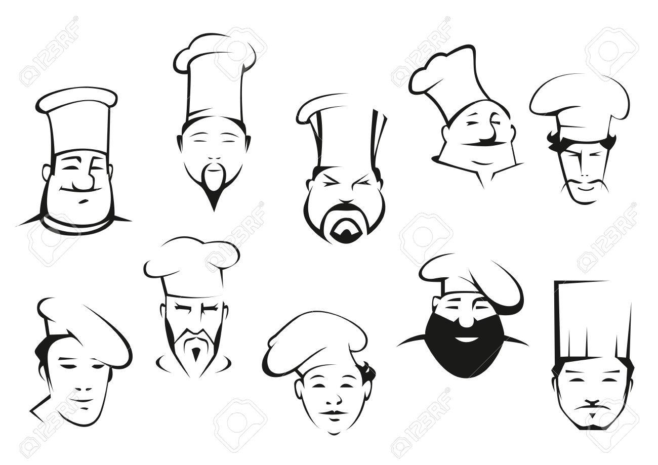 Prime Chef Or Cook Characters In Cartoon Sketch Style In Toques With Short Hairstyles Gunalazisus