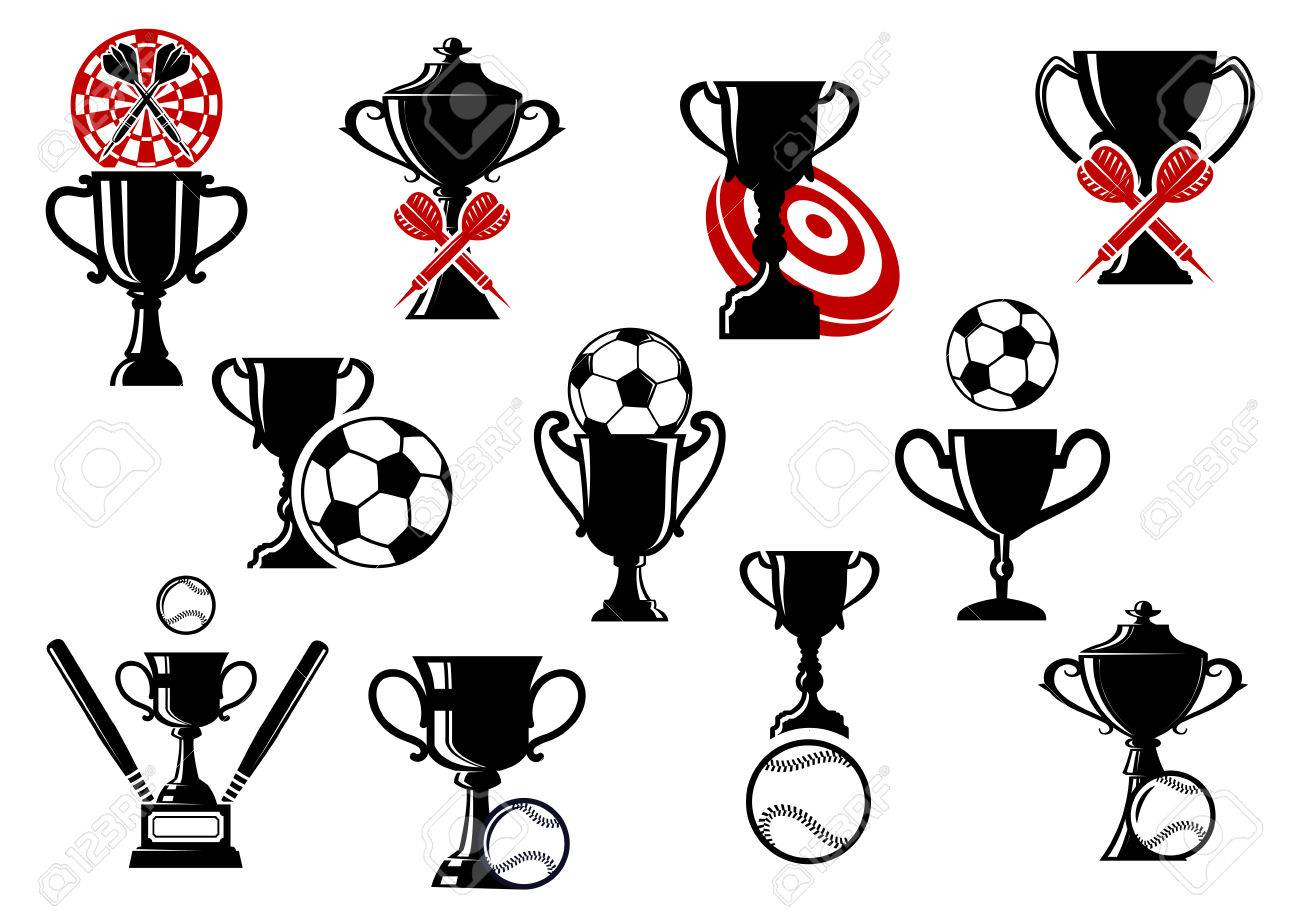 Sports competition symbols for football soccer darts and sports competition symbols for football soccer darts and baseball games with trophy cup buycottarizona