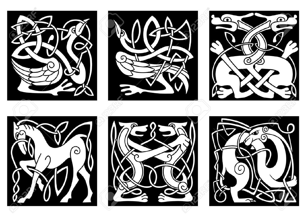 Animal ornaments - Abstract White Animal Ornaments In Celtic Style With Tribal Pattern On Black Background For Tattoo Or