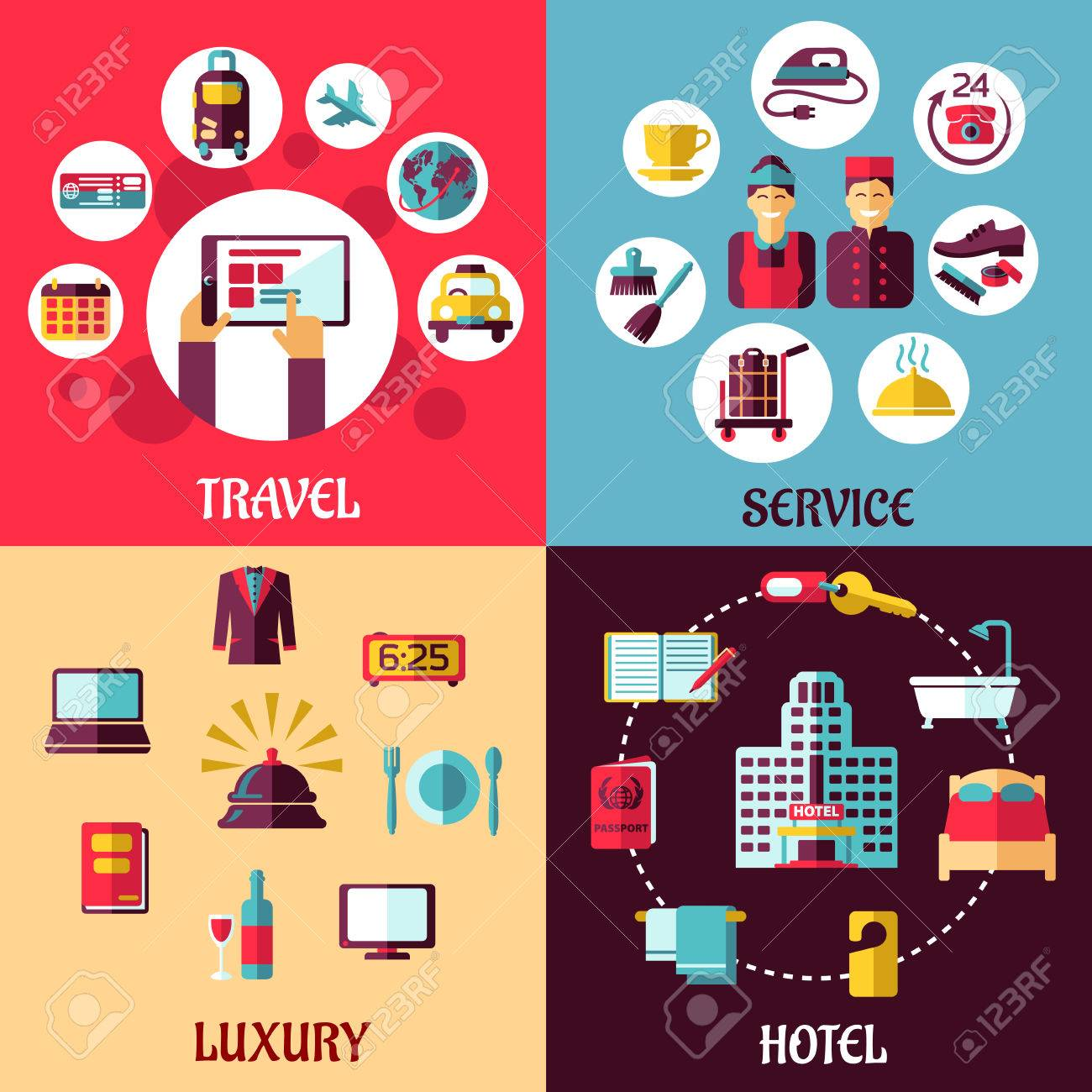 Travel And Services Flat Concept With Icons Depicting Internet Booking Luxury Hotel Room
