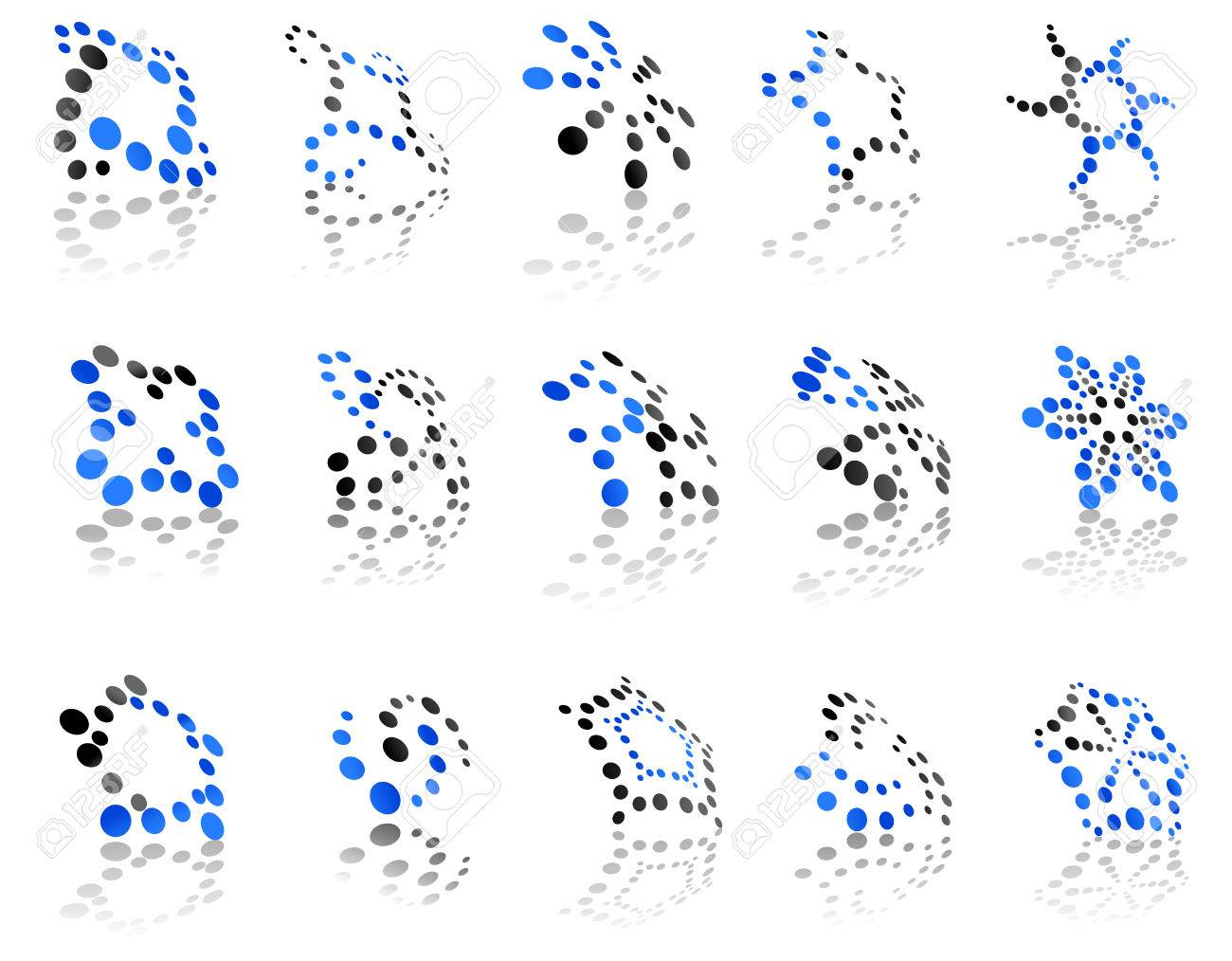 abstract icons with blue and grey dots in different shapes all