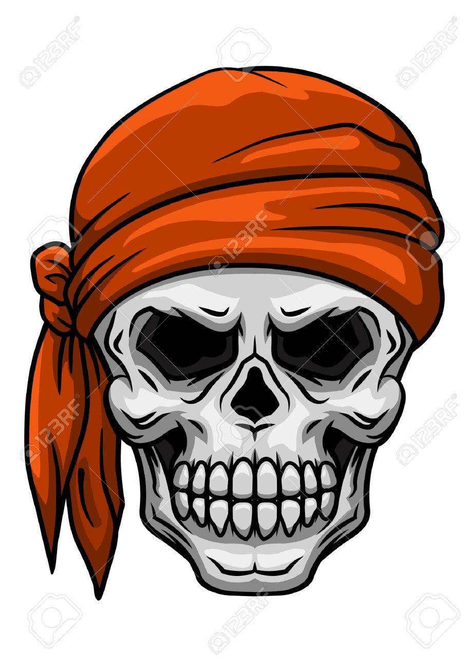 spooky cartoon skull in orange bandana or kerchief for tattoo rh 123rf com bandana vector pattern bandana vector download