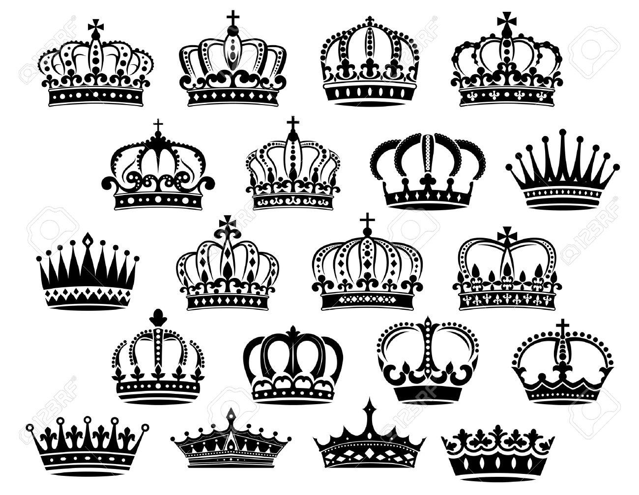 Royal Coronas Heráldicos Medievales Establecidos En Blanco Y Negro
