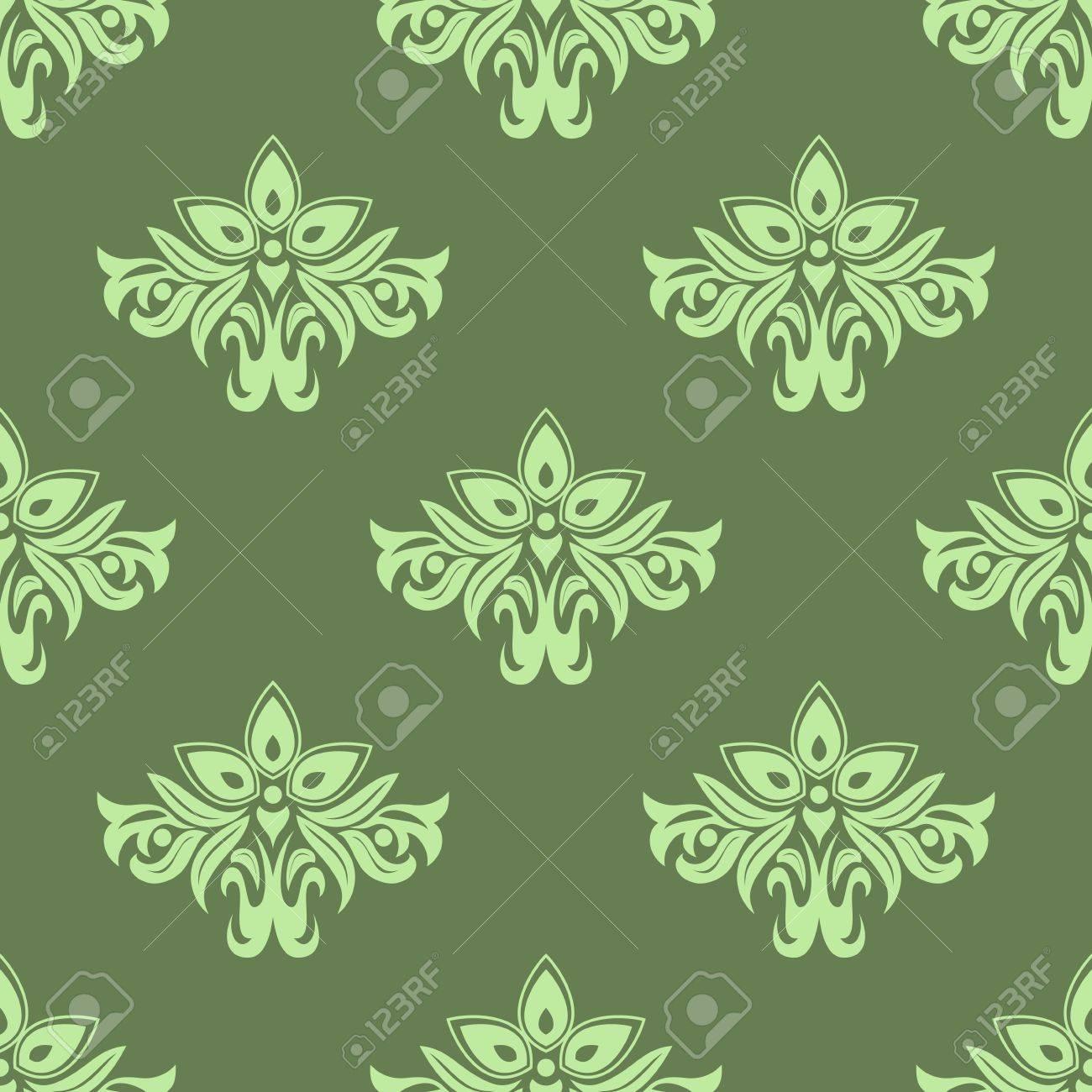 Light Green Floral Seamless Pattern On Dark Green Background