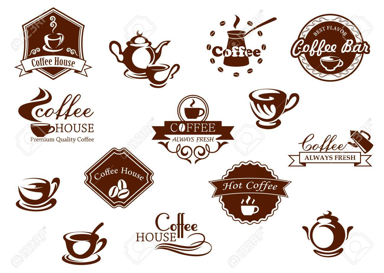 Amato Coffee Icons, Banners And Logos In Brown Suitable For Restaurants ZS92