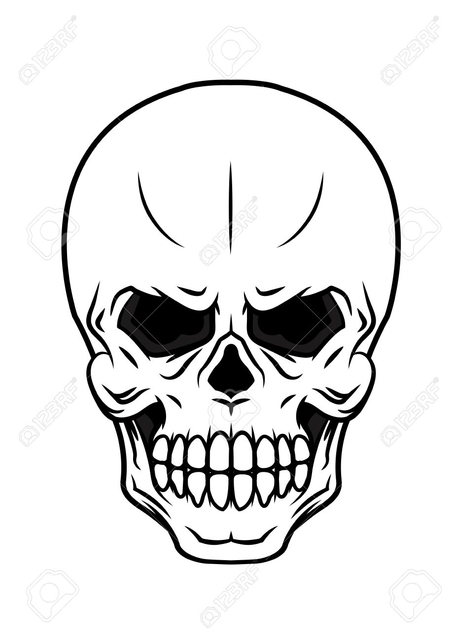 Black And White Danger Vector Cartoon Skull Icon With Teeth Suitable ...