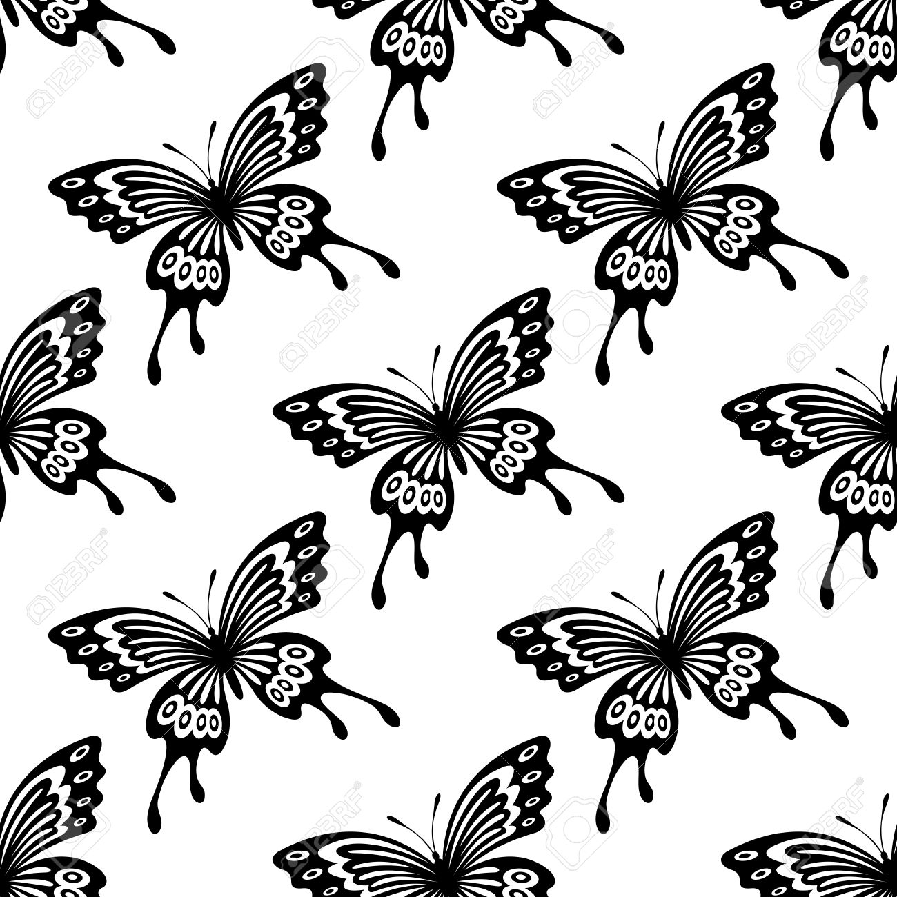 Seamless Background Pattern Of Flying Ornamental Black And White Butterflies In Square Format For Wallpaper
