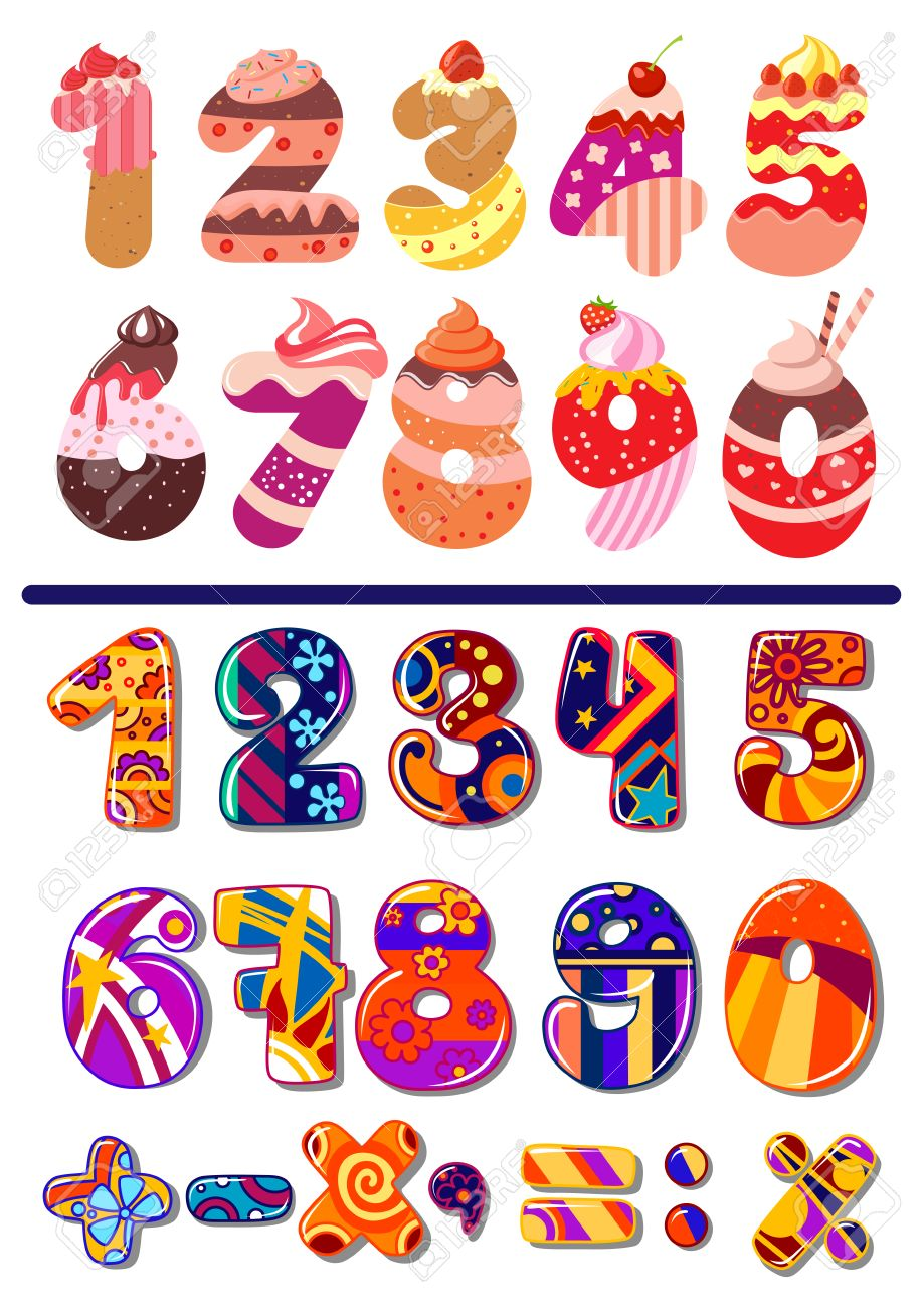 Two Colorful Sets Of Vector Numbers Or Digits One Decorated As Cakes For A Kids