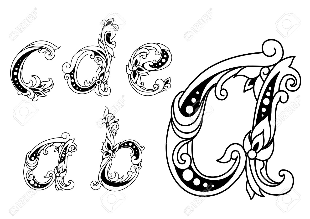 Calligraphic Floral Lower Case Alphabet Letters A B C D And E With