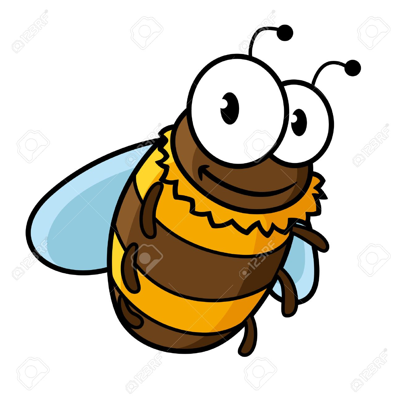 Happy flying cartoon bumble bee or honey bee with a striped body and large googly eyes