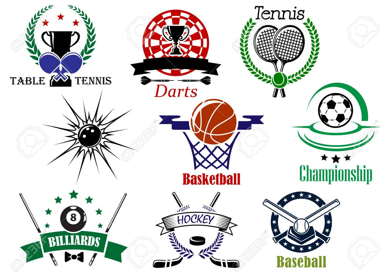 Team Sports Emblems And Logo For Football Or Soccer Ice Hockey