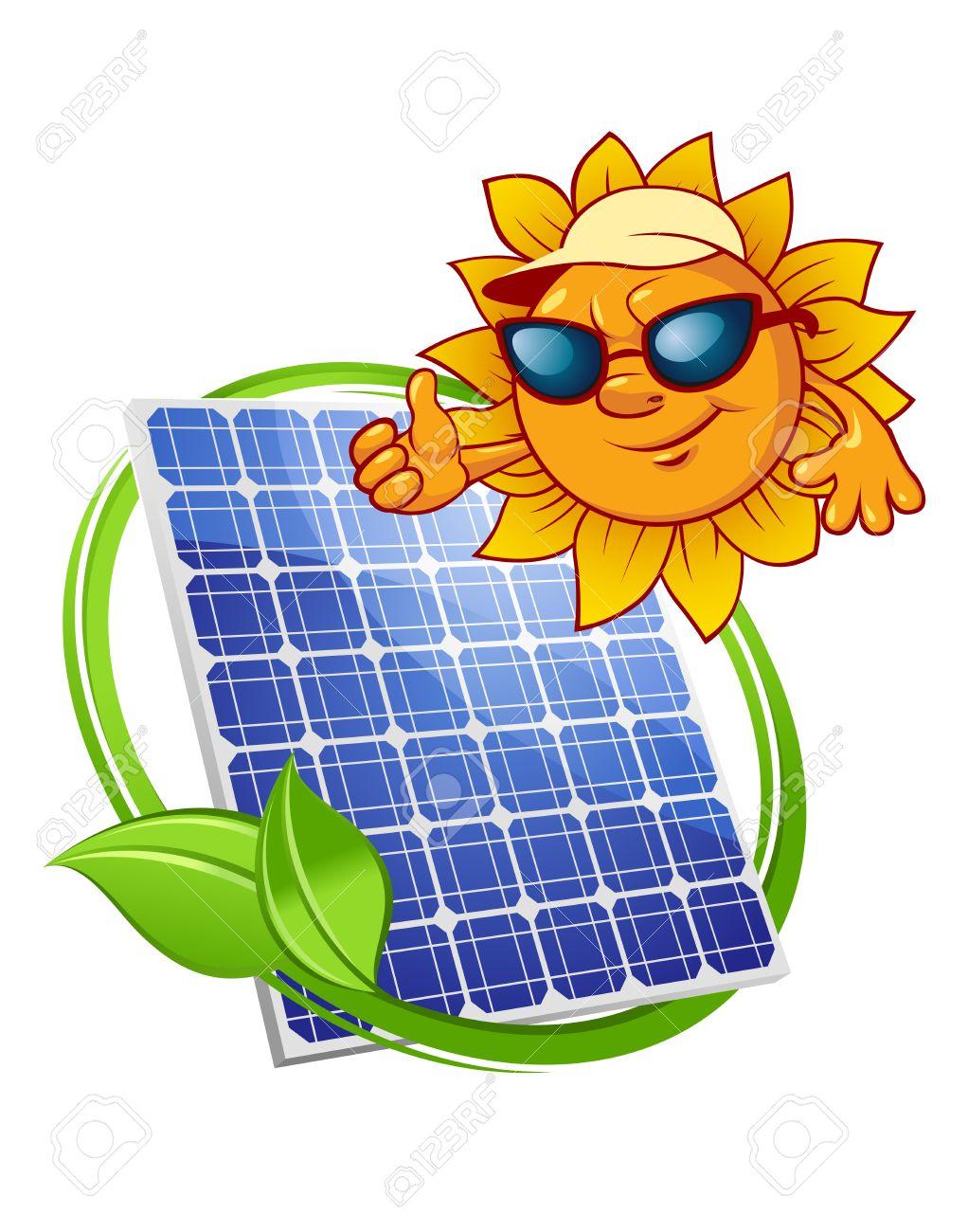 Panel De Energía Solar Azul Rodeado De Frondosa Tallo Verde Y Por ...