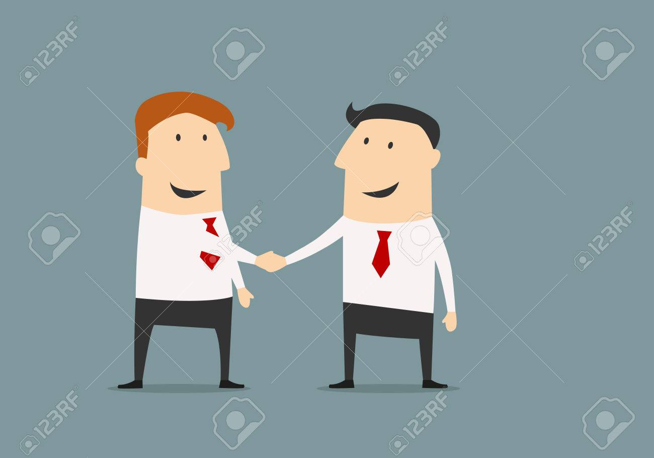 Cartoon businessman shaking hands congratulating each other with successful deal in flat style for business partnership concept design - 36610224