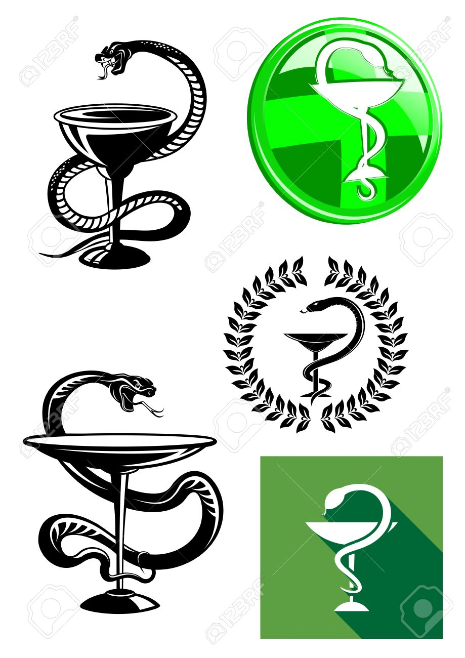 Set of pharmacy icons with medicine symbol of a cup or chalice set of pharmacy icons with medicine symbol of a cup or chalice with a snake twined buycottarizona Image collections