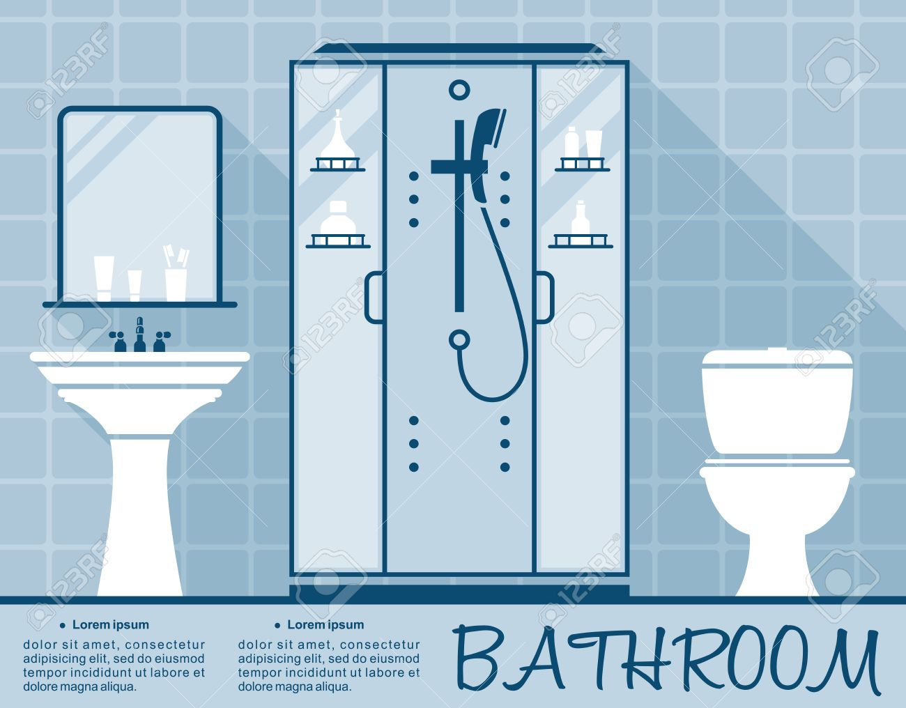 bathroom design infographic template in flat style in shades of blue of a bathroom interior with - Bathroom Design Template
