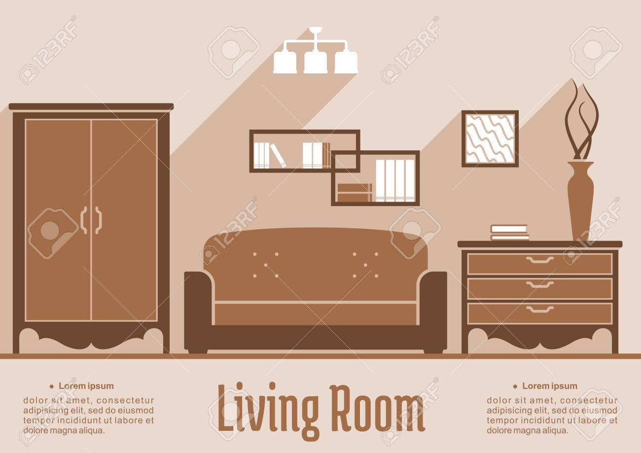Side Cabinets For Living Room Living Room Interior Flat Inforaphic Design In Shades Of Brown