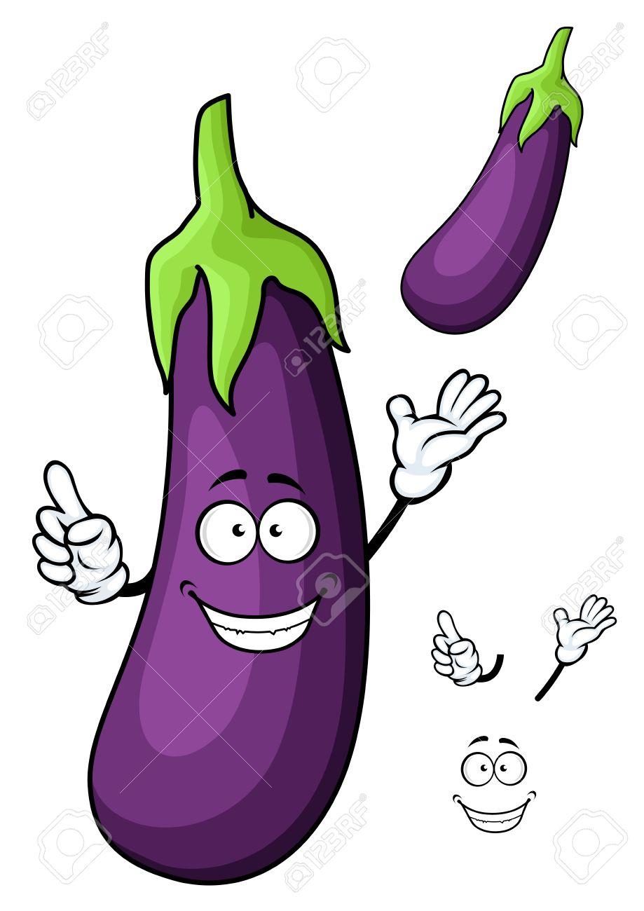 Le Violet Brillant Heureux Dessin Anime Caractere Aubergines Vegetale Avec Une Grande Tige Verte Pour Le Menu Vegetarien Ou Conception De Livre De