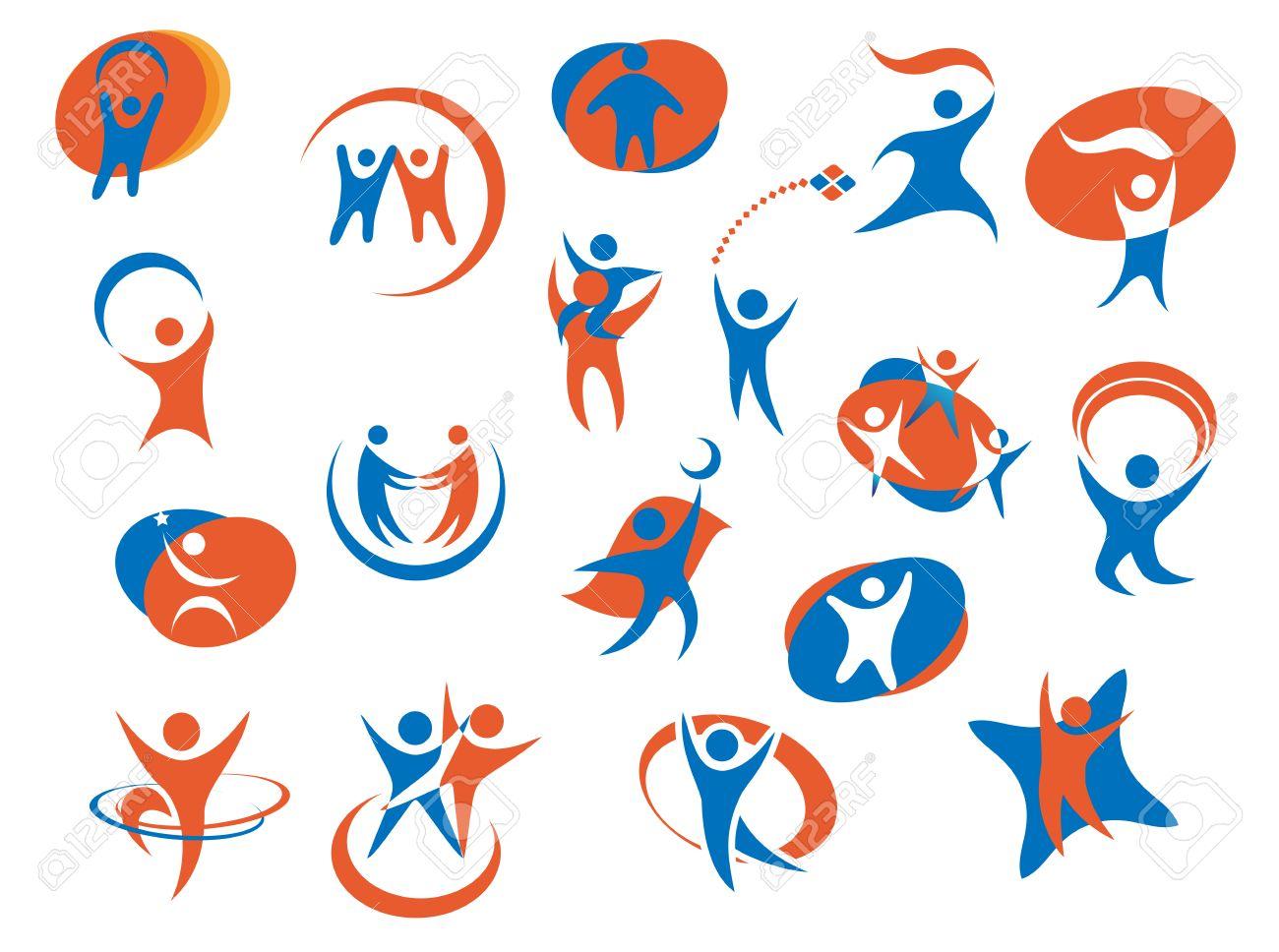 Abstrakt Menschen Silhouette Icons Oder Logo Vorlagen In Blau Und Orange  Farben Für Wirtschaft,
