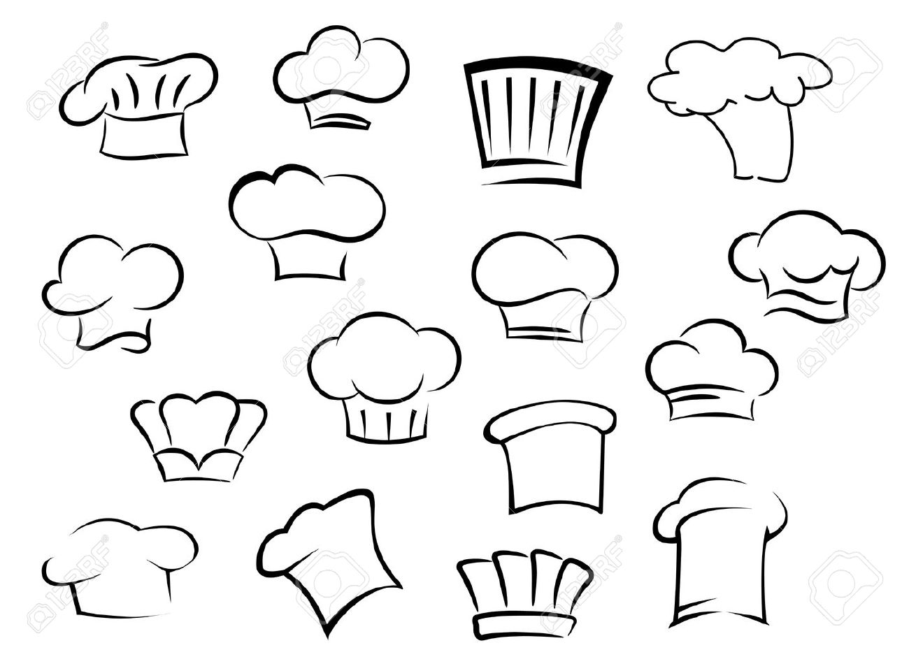 Toques Icônes Avec Embouts Blancs Uniformes Professionnels Pour Le Personnel De Cuisine Dans Le Style Dessin Doodle