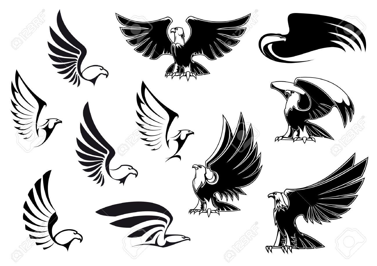 Siluetas Del águila Que Muestra El Vuelo Y Las Aves De Pie Con Las