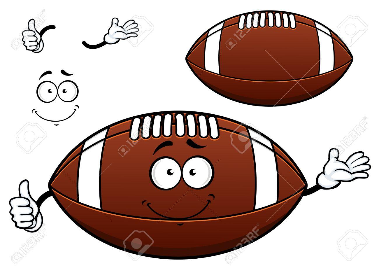 アメリカン フットボールやラグビー ボール漫画のキャラクター茶色の革の