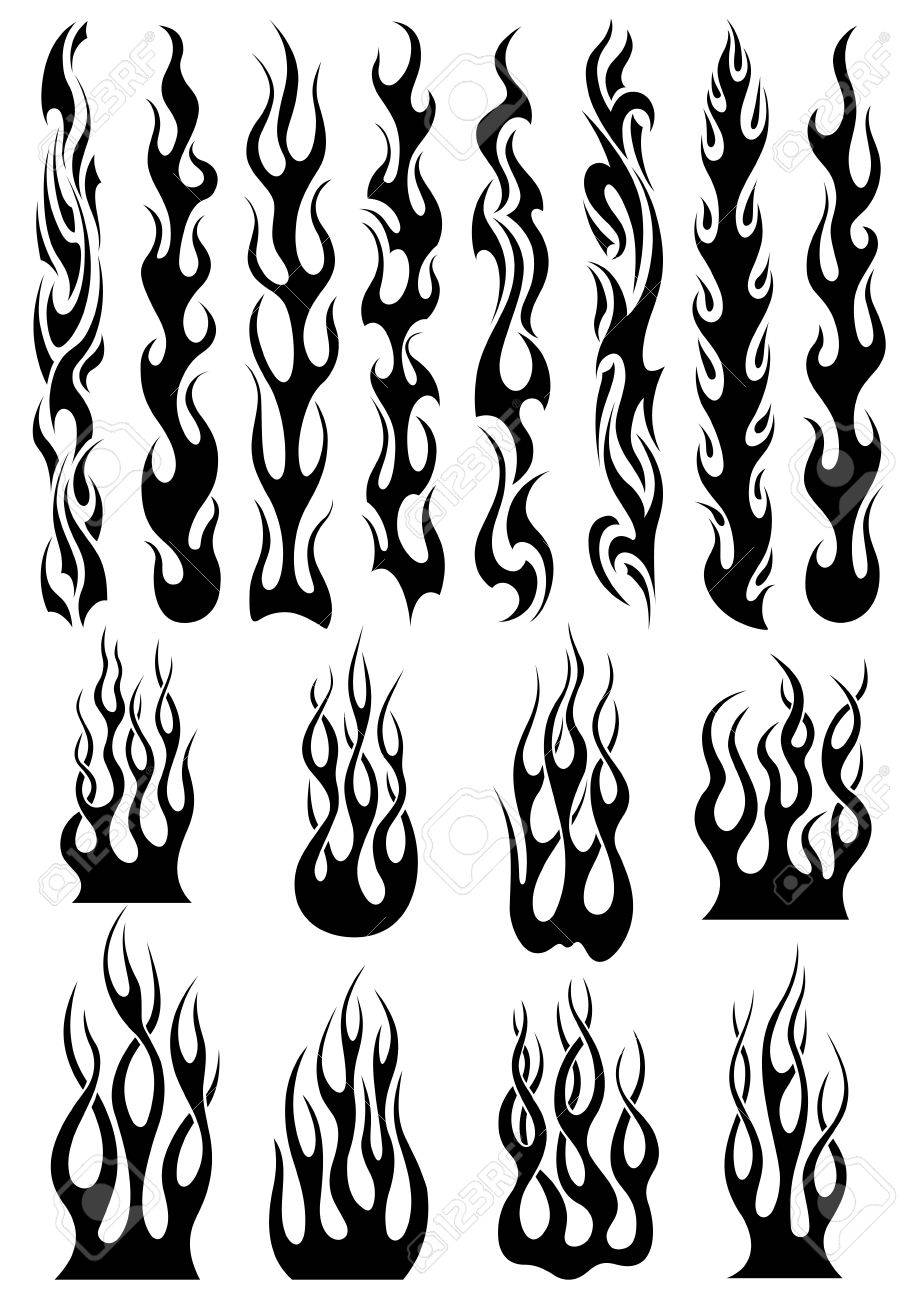 Black Tribal Fire Flames Set For Tattoo Vinyl Stickers And - Vinyl stickers design