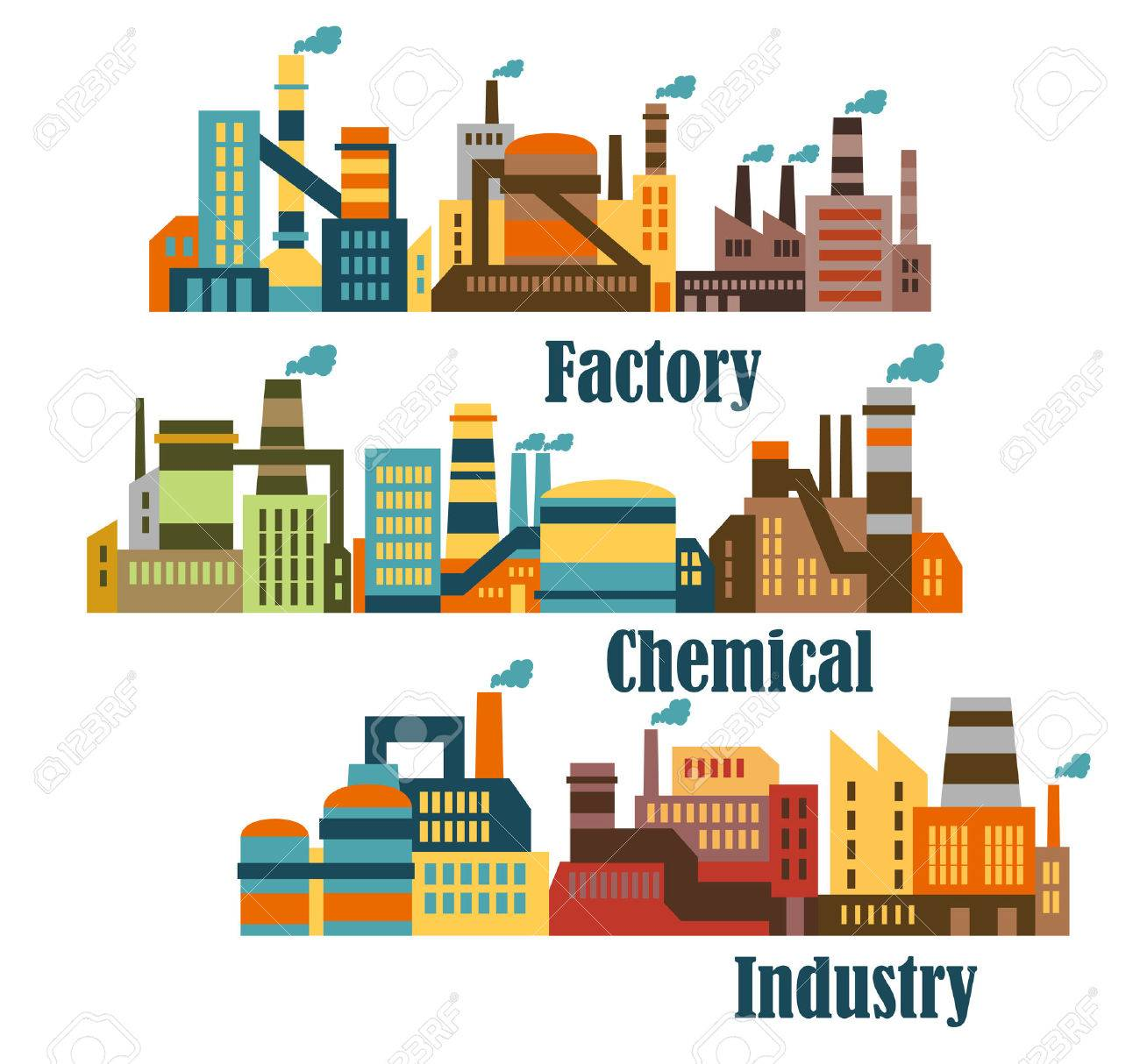 Chemical and industrial factories with smoking pipes in flat