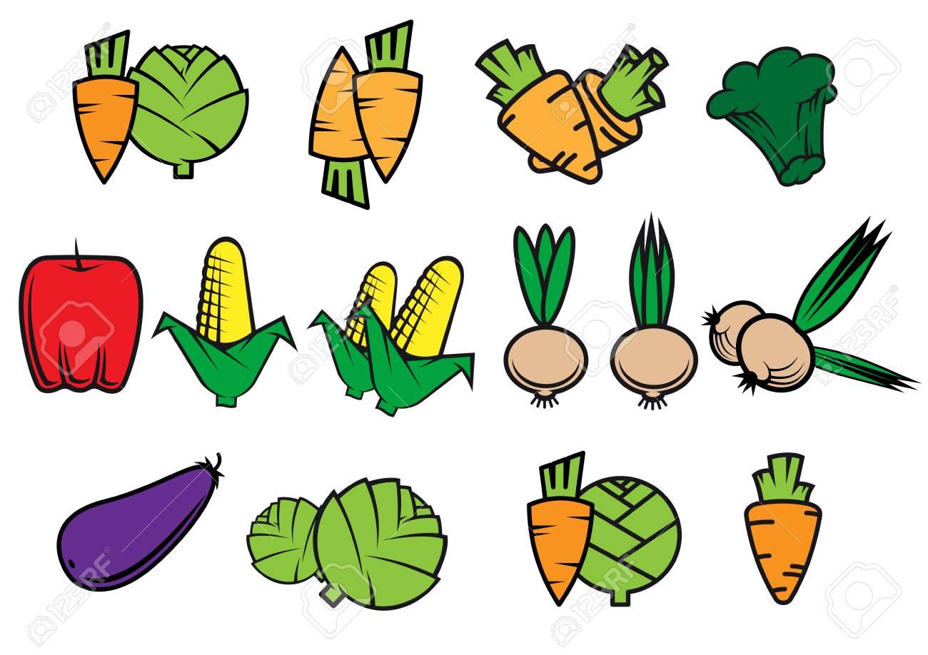 Wohnung Icons Von Frischem Gemüse Isoliert Auf Weißem Hintergrund ...