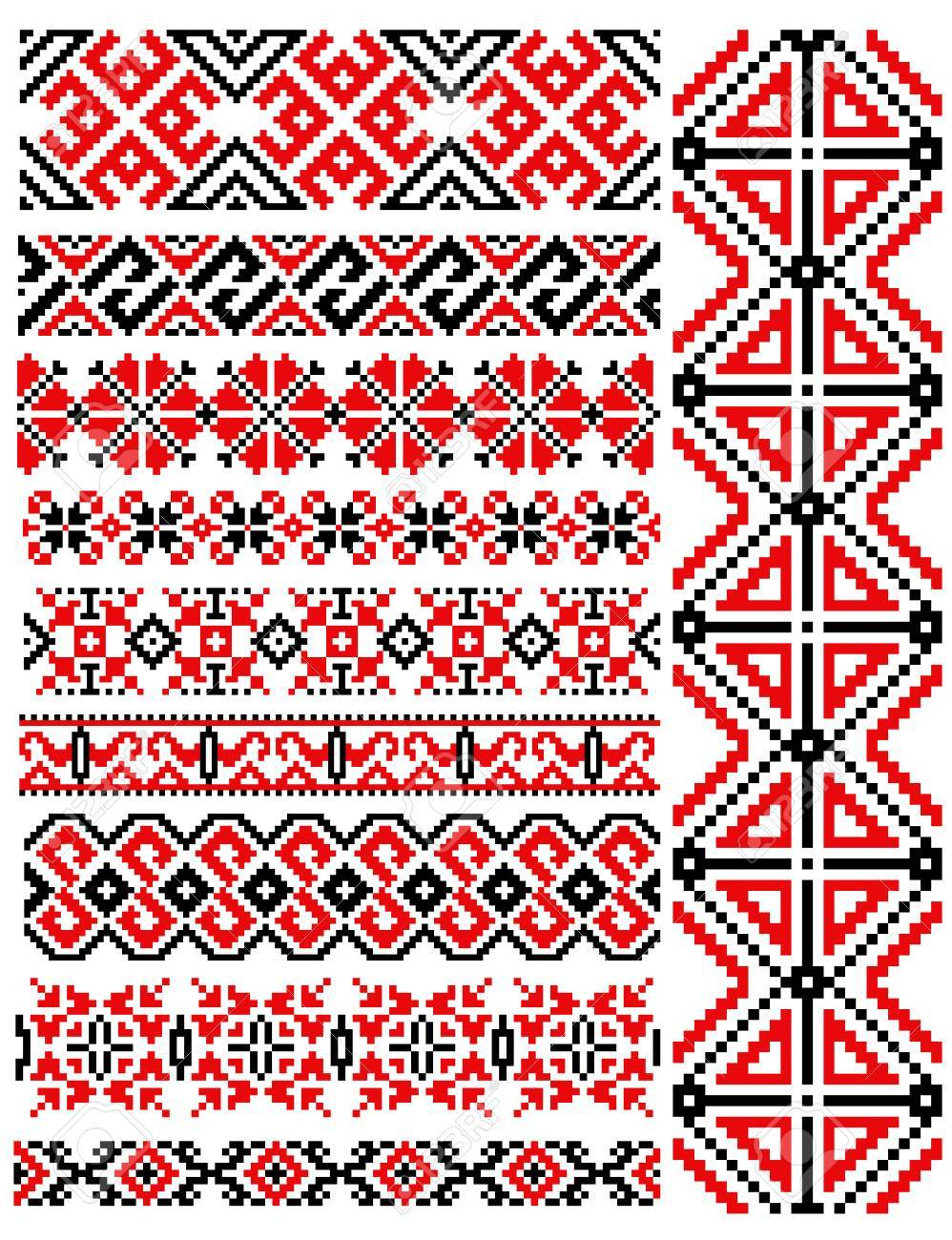 Ethnic Vintage Muster Und Ornamente In Rot Und Schwarz Für Die ...
