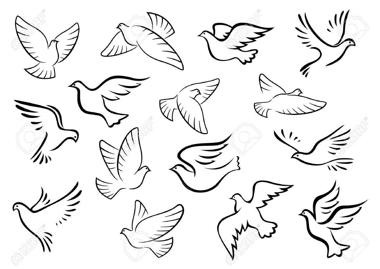 Pájaros Paloma Y Paloma Siluetas En El Estilo De Dibujo De La Paz O