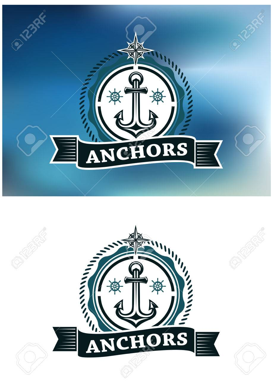 Ship anchor in round rope border with text for marine heraldic ship anchor in round rope border with text for marine heraldic design stock vector 37825453 buycottarizona