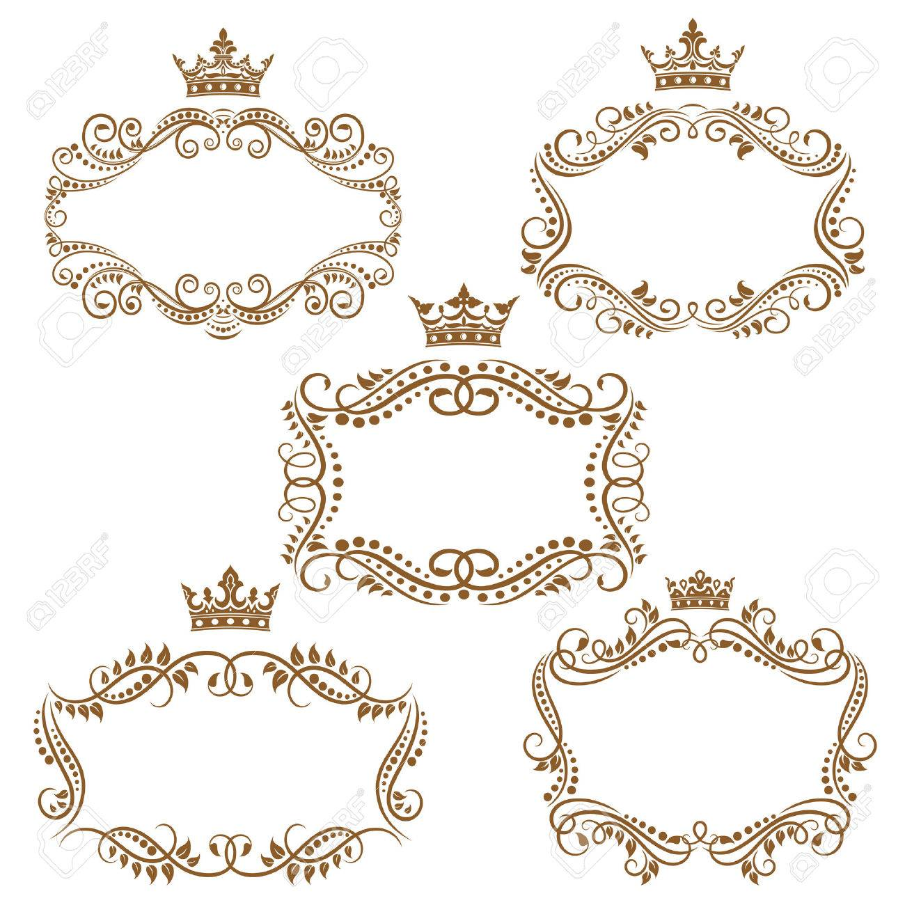 Royal Vintage Brown Borders And Frames Emphasizing The Crown ...
